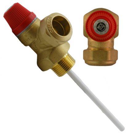 """Altecnic - 10 Bar 3/4"""" 90°C Pressure and Temperature Relief Valve"""