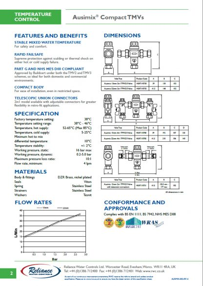 Reliance - Ausimix Thermostatic Mixing Valves Technical Specifications Sheet