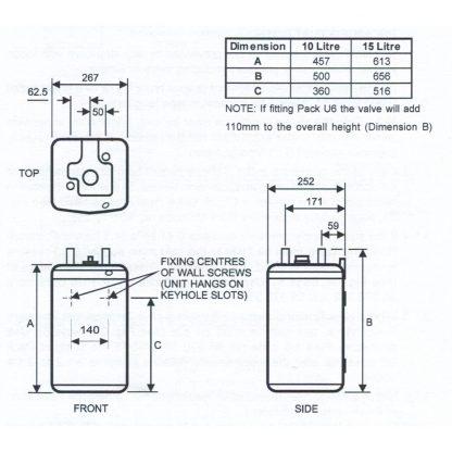 Heatrae Sadia - Hotflo 10 Litre Instant Water Heater 50148 & Unvented Kit C