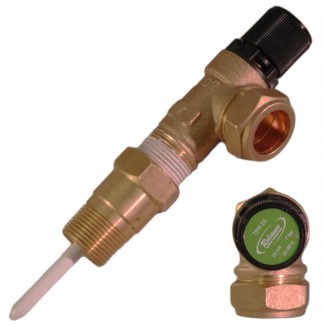 "Reliance - HTE575 7 Bar 3/4"" MBSP x 22mm Pressure & Temperature Relief Valve 90-95°C 95mm Probe Extended Body"