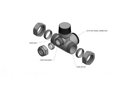 Heatrae Sadia - 8 Bar Pressure Relief Expansion Manifold Valve (Mark 2) 95605828