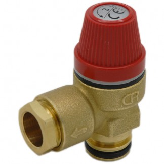 "Caleffi - 3 Bar Pressure Relief Valve 1/2"" Push Fit O-Ring 312404CST"