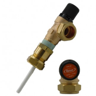 "Reliance - 4.5 Bar 3/4"" MBSP x 22mm Pressure & Temperature Relief Valve 90-95°C 95mm Probe Extended Body"