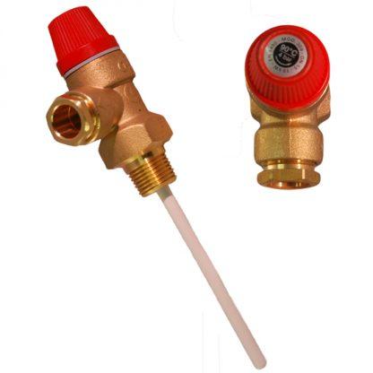 """Altecnic - Caleffi 4 Bar 1/2"""" 90°C Pressure and Temperature Relief Valve 309440"""