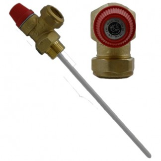 Altecnic - Caleffi 10 Bar 22mm Pressure Temperature Relief Valve 200mm Probe 309505CST