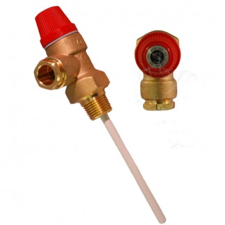 "Warmflow 7 Bar 1/2"" 90°C Pressure and Temperature Relief Valve"
