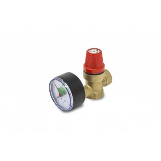 "Essentials 1/2"" 3.0 Bar Heating Expansion Relief Valve With Gauge"