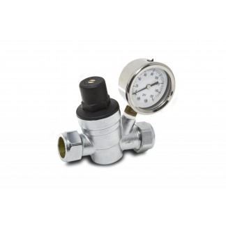 Essentials 22mm Adjustable Pressure Reducing Valve with Gauge