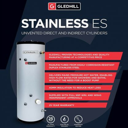 ESINPDI200 - Gledhill ES 200 Litre Direct Unvented Cylinder