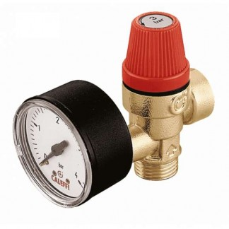 Caleffi Safety Relief Valve 1/2'' F x 1/2'' M 3 Bar with Pressure Gauge 314430