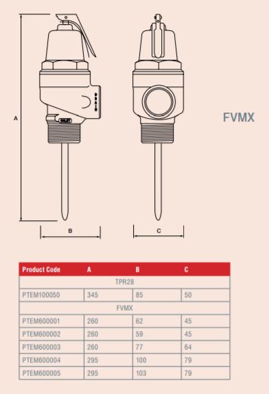 "Reliance - PTEM600005 - 2"" FVMX 7.0 Bar Pressure & Temperature Relief Valve Dimensions"