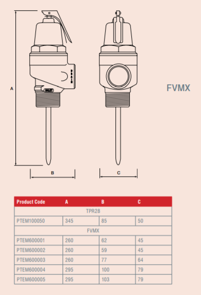 "Reliance - PTEM600001 - 3/4"" FVMX 7.0 Bar Pressure & Temperature Relief Valve Dimensions"