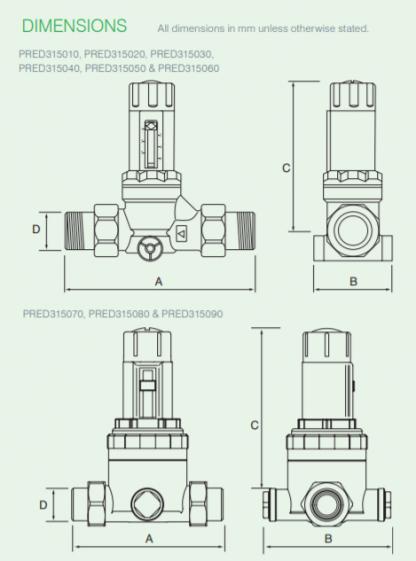 Reliance - PRED315070 - 15MM CAP 315i Adjustable Pressure Reducing Valve 1.5-6.0 Bar