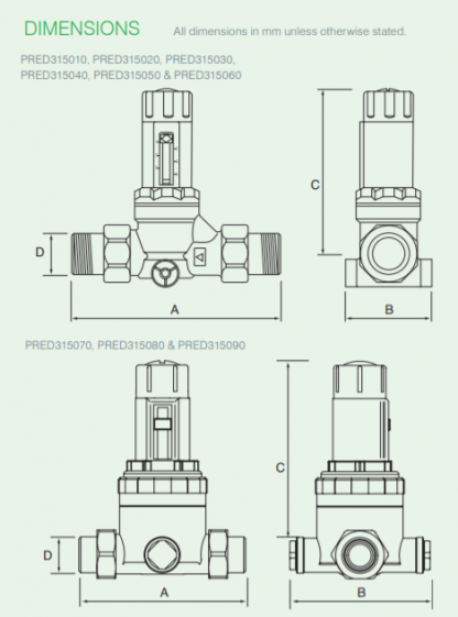 "Reliance - PRED315060 - 2""MBSP 315i Adjustable Pressure Reducing Valve 1.5-6.0 Bar"