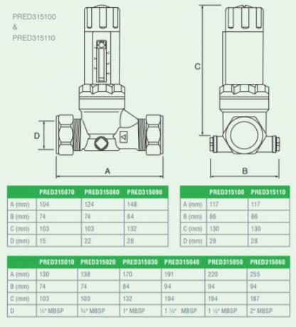 Reliance - PRED315080 - 22MM CAP 315i Adjustable Pressure Reducing Valve 1.5-6.0 Bar