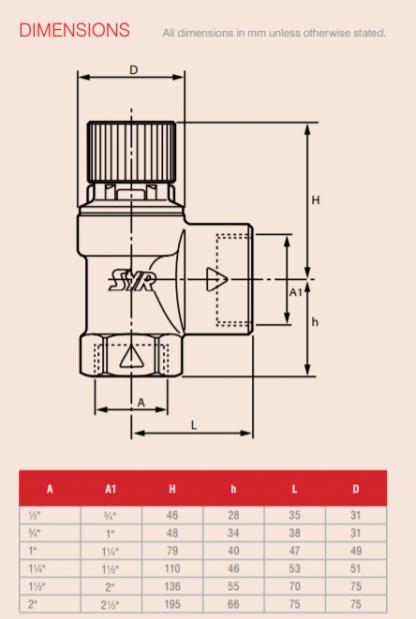 "Reliance - PREL104020 - 1.1/2""*2""F*FBSP 8.0 Bar Pressure Relief Valve"