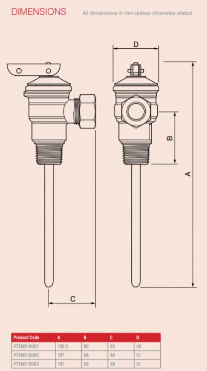 Reliance - PTEM510003 - 15mm TPR15L 10 Bar Temperature & Pressure Relief Valve Dimensions