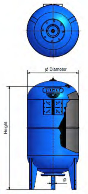 1100075057 - Zilmet 750 Litre Ultra-Pro Potable Expansion Vessel