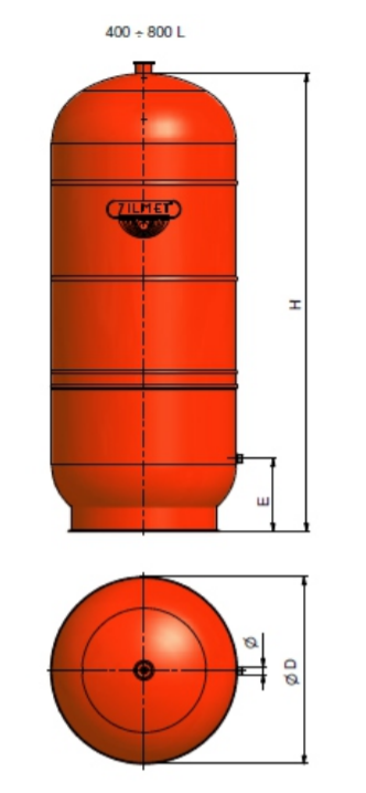 1300080000 - Zilmet 800 Litre Cal-Pro Heating Expansion Vessel