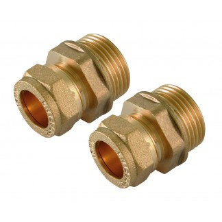"Tesla 10mm Compression x 1/4"" BSPT Male Straight Coupler Brass - CCMI1014"