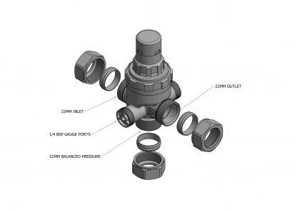Heatrae Sadia Megaflo - 3 Bar 22mm Preset Pressure Reducing Valve - 95605886