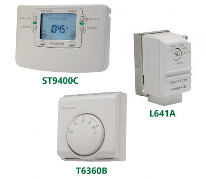 Honeywell ST9400C 7 day programmer + T6360B Room Thermostat + L641A Thermostat